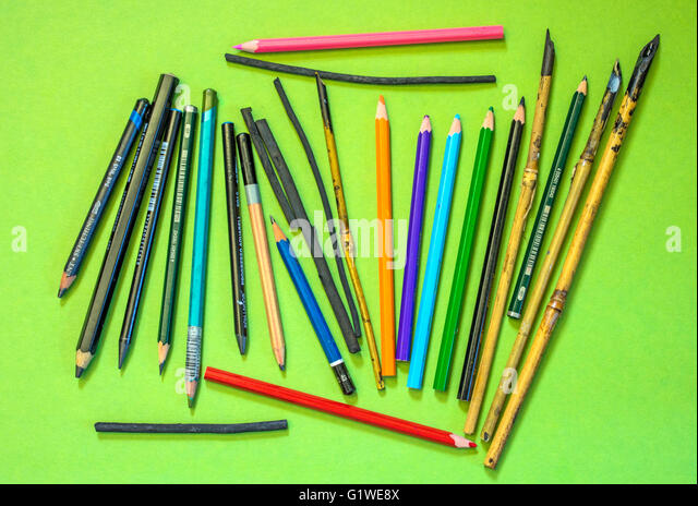A collection of pencils, pens and other items used by artists and illustrators. - Stock Image