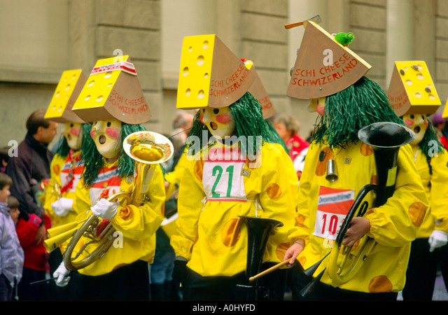 Switzerland Basel Fastnacht carnival cheese costumes - Stock Image
