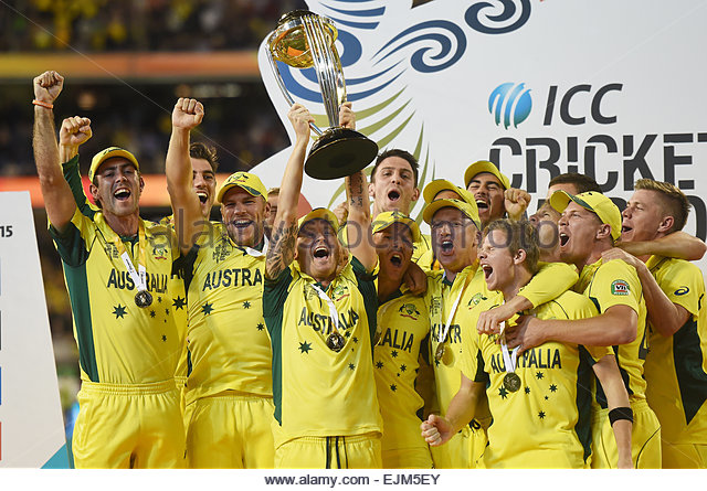 MCG Stadium, Melbourne, Australia. 29th Mar, 2015. Australia celebrate winning the ICC Cricket World Cup Final. - Stock-Bilder