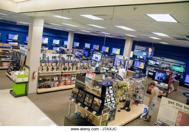 Miami Florida Aventura Mall shopping retail display for sale department store Sears electronics - Stock Image