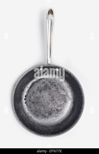 A well seasoned frying pan, with a smooth cooking surface. - Stock Image