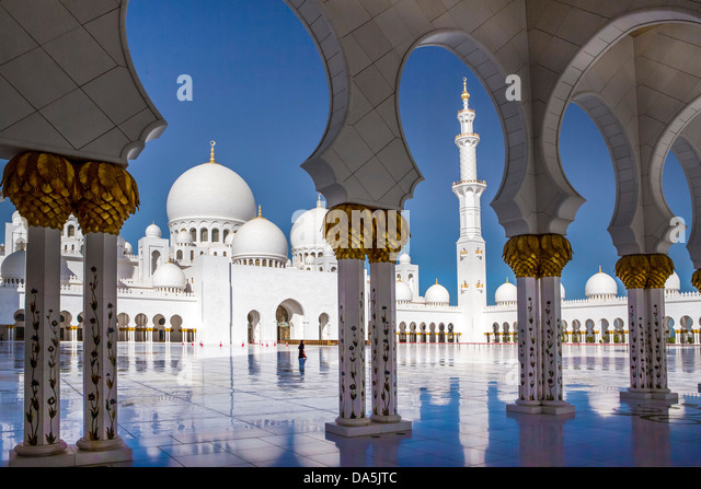 United Arab Emirates, UAE, Middle East, Abu Dhabi, City, Sheikh Zayed, Mosque, Mosque, Zayed, architecture, columns, - Stock Image