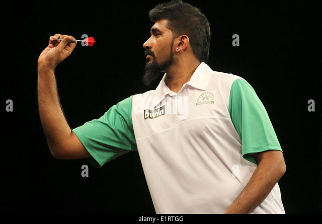 Nitan Kumar (Indien) at the World Cup of Darts 2014 in the Sport Hall. Hamburg, 06.06.2014 - Stock-Bilder