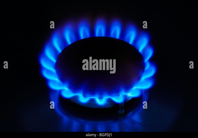 Gas Ring with Blue Flame - Stock Image