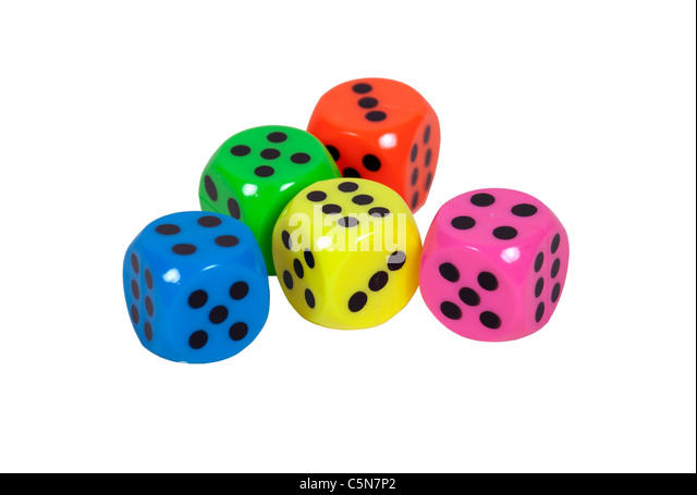 Bright chances shown by colorful dice used to gamble and make decisions on a roll - path included - Stock Image
