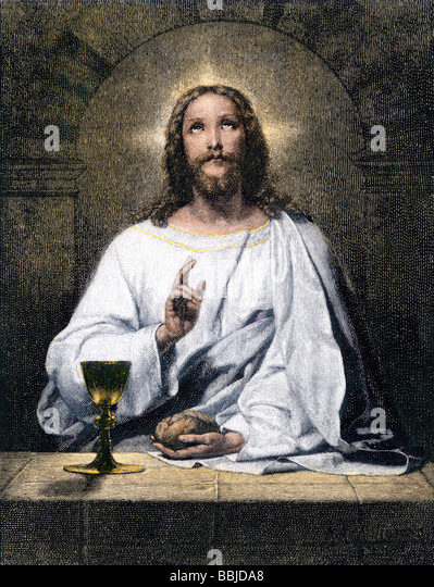Jesus blessing bread and wine at Emmaus - Stock Image