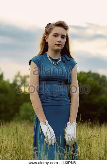 Portrait of a vintage teen girl - Stock Image