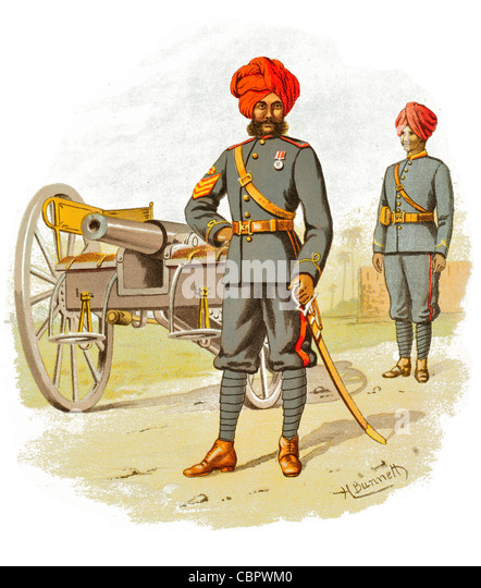 The Bombay Artillery cannon gunner gunnery Royal Indian Regiment Army Raj India Bengal Madras Bombay warfare combat - Stock Image