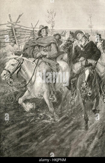 Pilgrims of the Law - Lincoln and the Court Riding the Circuit, circa 1850 - Stock-Bilder