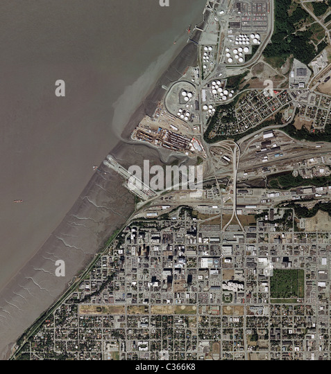 aerial map view Anchorage Alaska - Stock Image