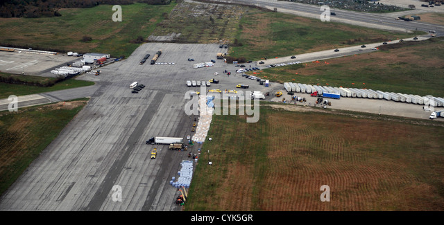 National Guard and Federal Emergency Management Agency assets stage in New York, as seen as Army Gen. Frank Grass, - Stock Image