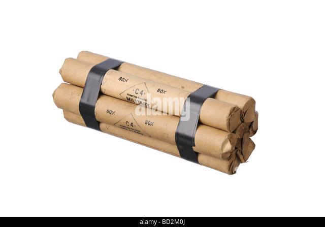 Dynamite C4 explosive sticks - Stock Image