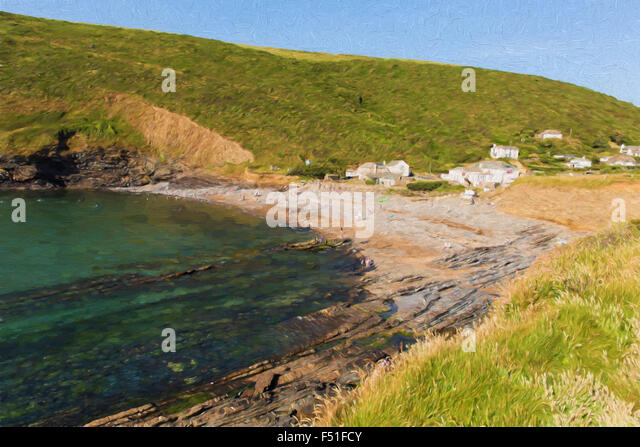 Crackington Haven beach North Cornwall between Bude and Tintagel England UK on a beautiful summer day illustration - Stock Image