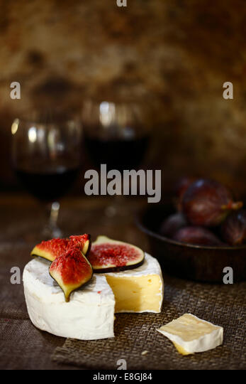 Figs and cheese - Stock Image