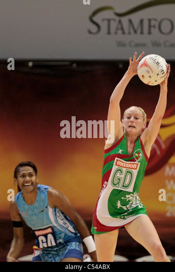 06.07.2011 Stephanie Williams of Wales(right) manages to intercept a pass during the Pool B match between Wales - Stock Image