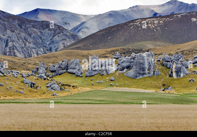 Castle Hill travel tourist landscape mountains gray day New Zealand - Stock-Bilder