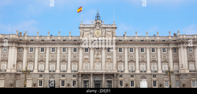 Madrid, Spain - february 26, 2017: Facade of Royal Palace in, Madrid, Spain. View from courtyard - Stock Image