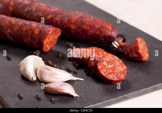 Spanish chorizo. - Stock Image