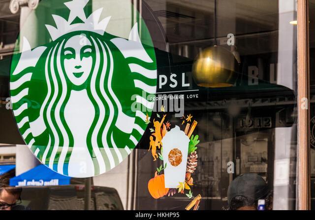 Indianapolis - Circa September 2016: Starbucks Retail Coffee Store. Starbucks is Serving Pumpkin Spice Lattes VI - Stock Image
