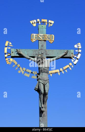 Crucifix, Charles Bridge, Prague - Stock-Bilder