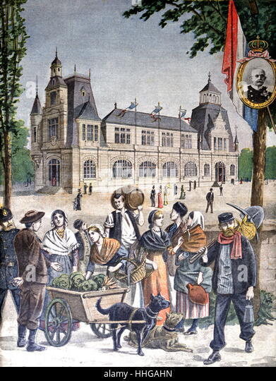 Illustration showing the Duchy of Luxembourg Pavilion, at the Exposition Universelle of 1900 - Stock Image