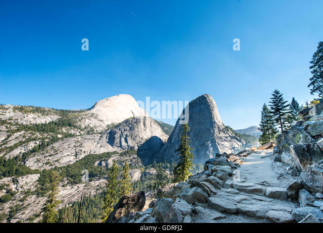 Trail to Glacier Point, Outlook on Liberty Cap, Mt. Broderick and Half Dome, Yosemite National Park, California, - Stock Image