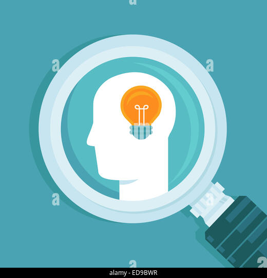 Creative idea concept in flat style - human head and light bulb - Stock-Bilder
