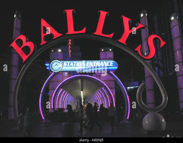Las Vegas strip night Ballys Monorail Signs - Stock Image