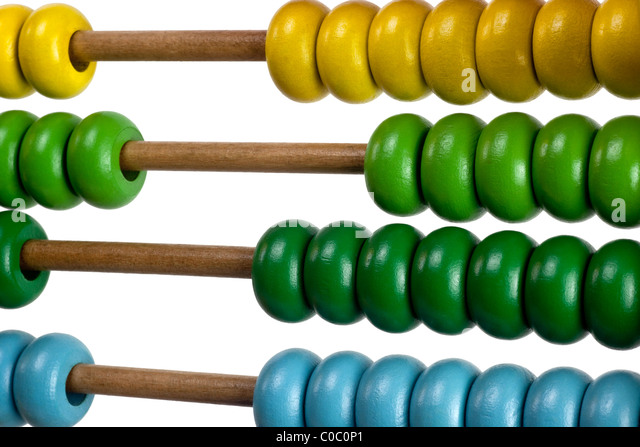 Closeup of the colorful beads of an abacus for children - Stock Image