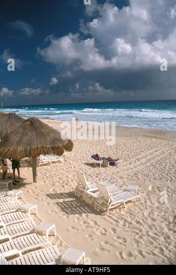 cancun mexico beach caribbean sea beach hotels - Stock Image