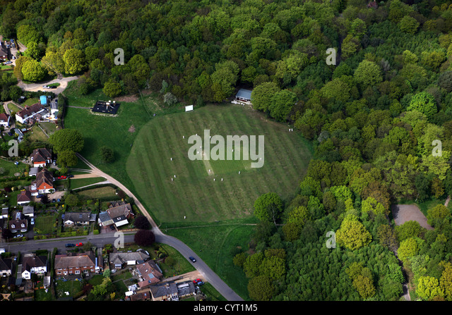 Aerial view of cricket pitch in Kent - Stock Image