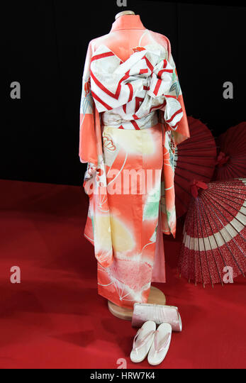 Japanise kimono, for a young girl, named Furisode  (back side) - Stock Image