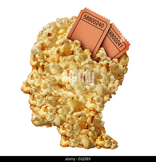 Thinking movies concept and movie guide or reviews symbol as a heap of popcorn shaped as a human head with ticket - Stock-Bilder