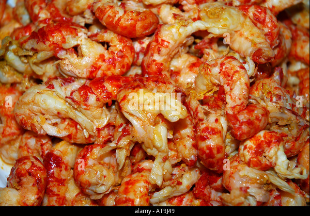 Lafayette Louisiana cajun crawfish cooked in spicy sauces - Stock Image