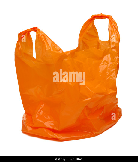Orange plastic bag - Stock Image