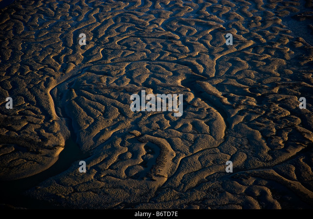Aerial images of the salt marsh along the Charleston SC coast in Bulls Bay. - Stock Image