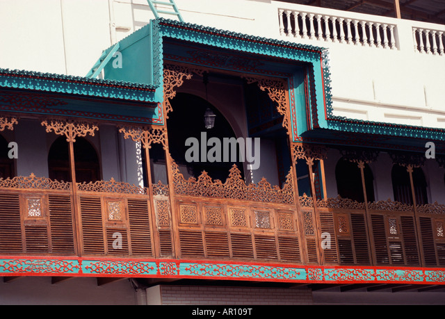 Wooden Architecture of traditional Home in Bahrain - Stock Image