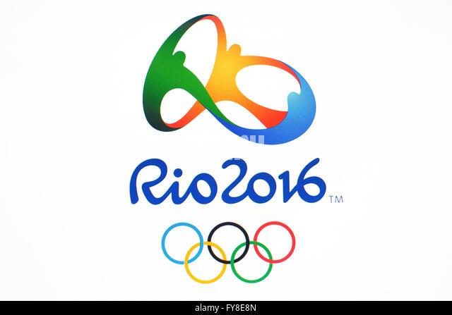 GDANSK, POLAND - NOVEMBER 20, 2015. On computer screen- official logo of the Rio 2016 Summer Olympics Games in Brasil, - Stock Image