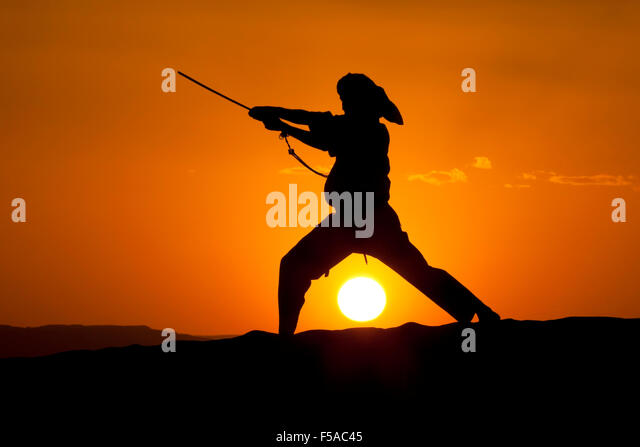 A man practices karate with a sword against a sunset. - Stock Image