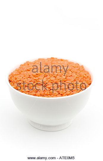 RED LENTILS, LENS CULINARIS, - Stock Image