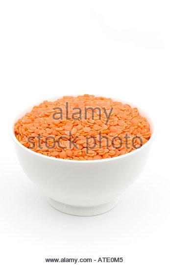 RED LENTILS, LENS CULINARIS, - Stock Image