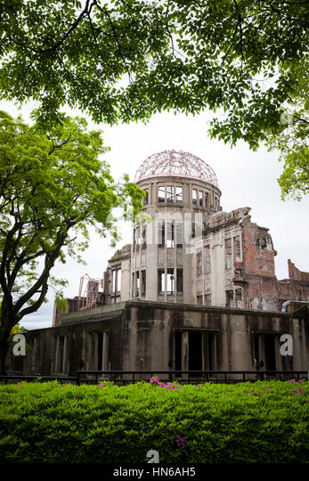 Hiroshima, Japan - May 2, 2012: The A-Bomb Dome was one of the only buildings left standing at the epicentre of - Stock Image