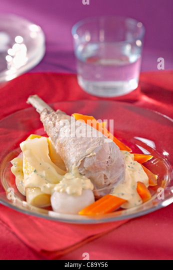 Mini turkey stew with sauce - Stock Image