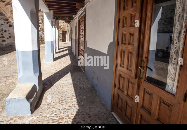 Guadalupe old town arcaded streets, Caceres, Extremadura, Spain - Stock Image