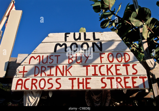 Bomba Shack, Tortola, full moon party ticket sign - Stock Image