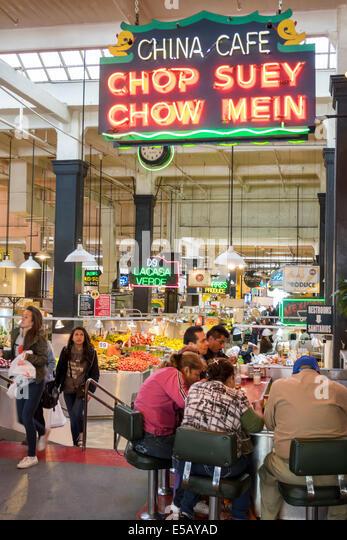Los Angeles California CA L.A. Downtown Grand Central Market public market Homer Laughlin Building landmark shopping - Stock Image