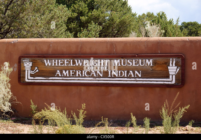 entrance sign wheelwright museum of the american native indian santa fe new mexico nm klah record singers - Stock Image