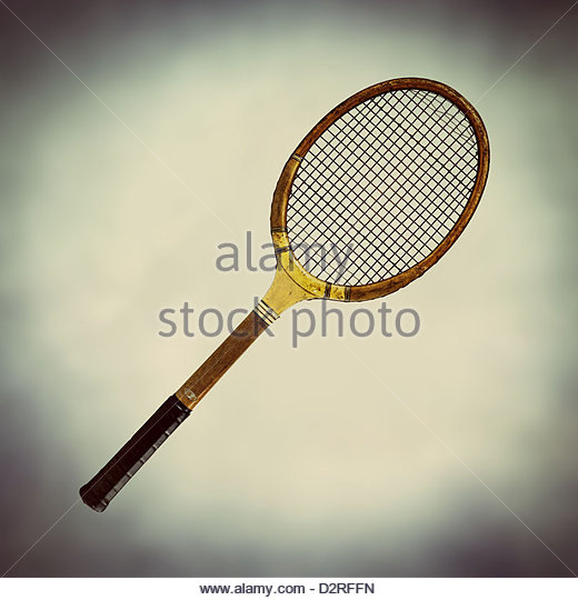 old fashioned wooden tennis racket - Stock Image