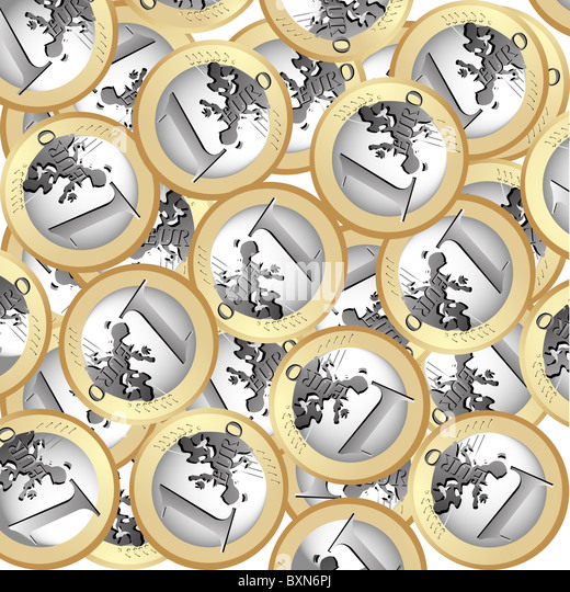 Euro coins background - Stock Image