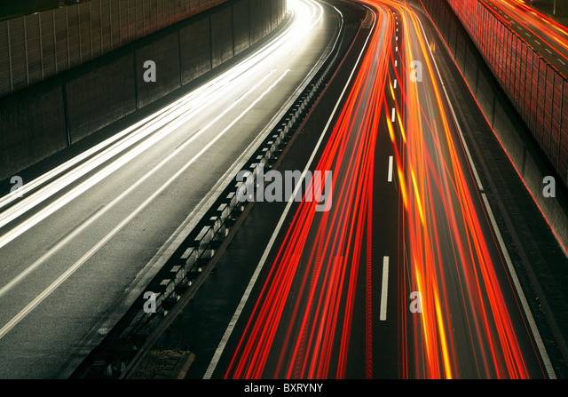 Rush-hour traffic on the A40 highway, Essen, Germany - Stock-Bilder